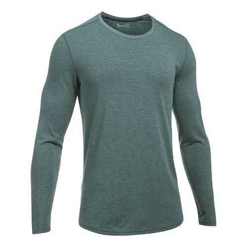Mens Under Armour Threadborne Knit Long Sleeve Technical Tops - Carbon Heather L