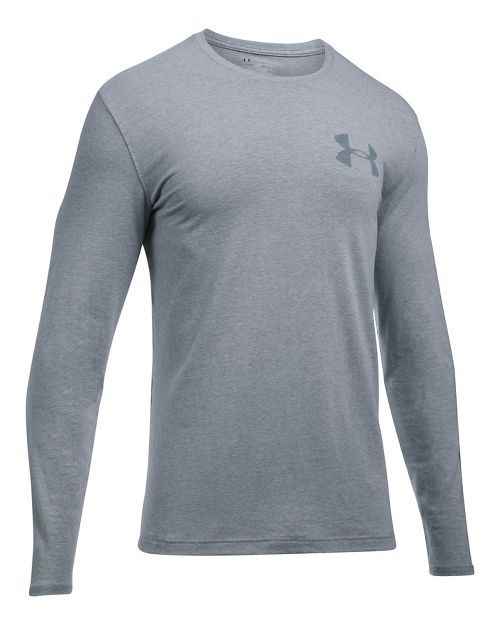 Mens Under Armour Sleeve Hit Long Sleeve Technical Tops - Steel Light Heather S