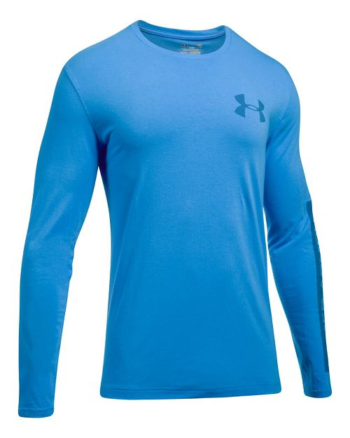 Mens Under Armour Sleeve Hit Long Sleeve Technical Tops - Water S