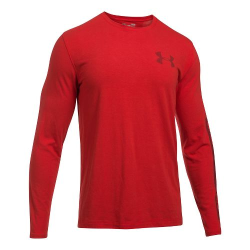 Mens Under Armour Sleeve Hit Long Sleeve Technical Tops - Red XL