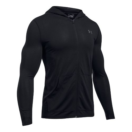 Mens Under Armour Threadborne Fitted Full-Zip Half-Zips & Hoodies Technical Tops - Black XL