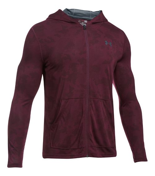 Mens Under Armour Threadborne Fitted Full-Zip Half-Zips & Hoodies Technical Tops - Raisin Red L