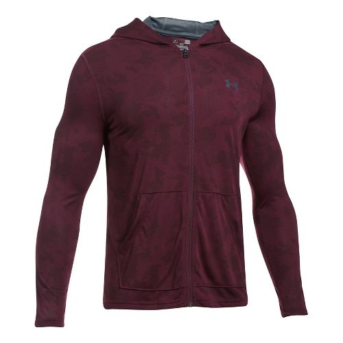 Mens Under Armour Threadborne Fitted Full-Zip Half-Zips & Hoodies Technical Tops - Raisin Red M