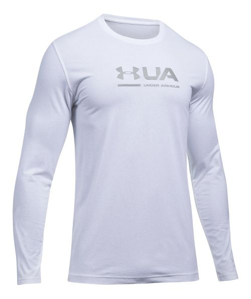 Mens Under Armour Shift Center Chest Long Sleeve Technical Tops - White S