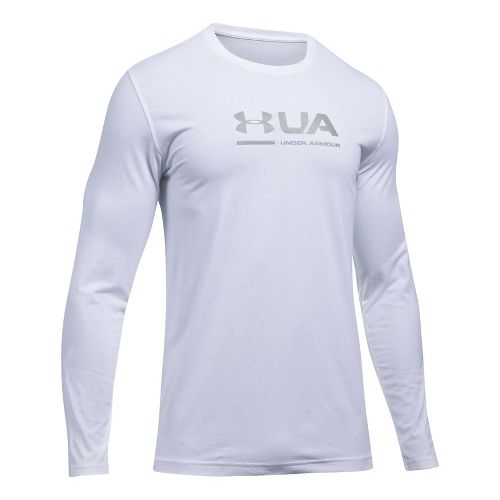 Mens Under Armour Shift Center Chest Long Sleeve Technical Tops - White L