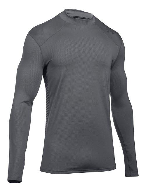 Mens Under Armour ColdGear Reactor Long Sleeve Technical Tops - Graphite/Grey XXL