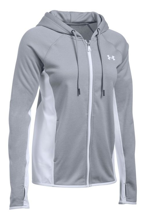 Womens Under Armour Fleece Full-Zip Crosshatch Running Jackets - True Grey XXL