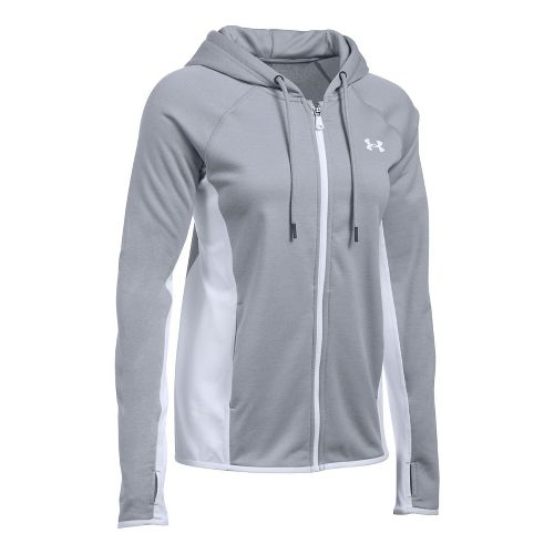Womens Under Armour Fleece Full-Zip Crosshatch Running Jackets - True Grey XS