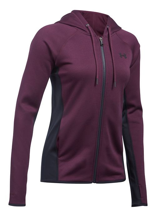 Womens Under Armour Fleece Full-Zip Crosshatch Running Jackets - Raisin Red XL