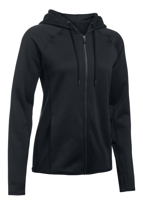 Womens Under Armour Fleece Full Zip-Solid Running Jackets - Black S