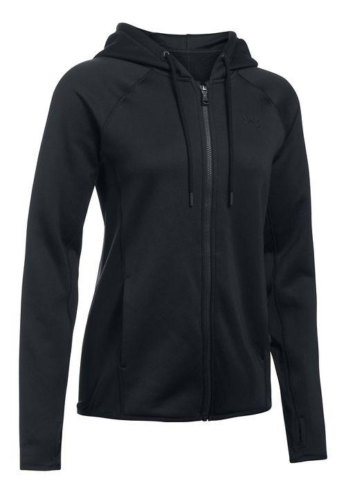 Womens Under Armour Fleece Full Zip-Solid Running Jackets - Black XS