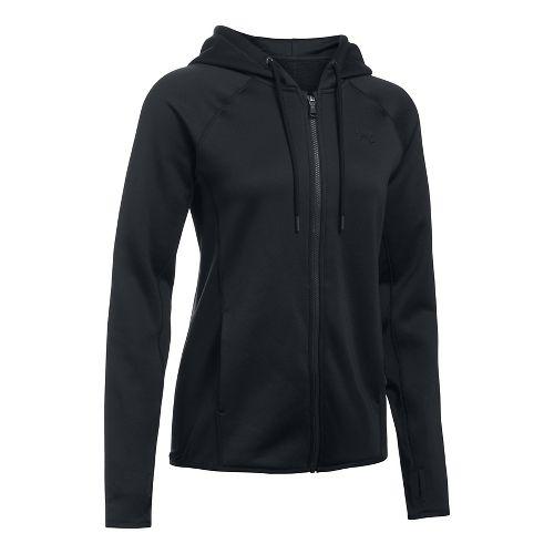 Womens Under Armour Fleece Full Zip-Solid Running Jackets - Black XXS
