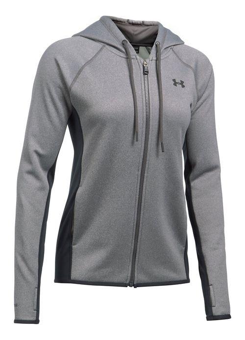 Womens Under Armour Fleece Full Zip-Solid Running Jackets - Carbon Heather L