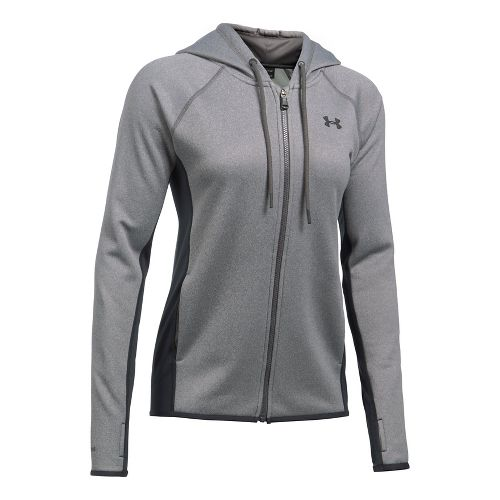 Womens Under Armour Fleece Full Zip-Solid Running Jackets - Carbon Heather XXS