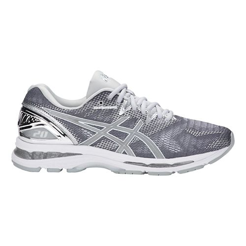 Mens ASICS GEL-Nimbus 20 Platinum Running Shoe - Carbon/Silver 14