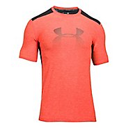 Mens Under Armour Raid Graphic Short Sleeve Technical Tops - Marathon Red XL