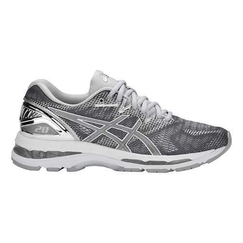 Womens ASICS GEL-Nimbus 20 Platinum Running Shoe - Carbon/Silver 11.5