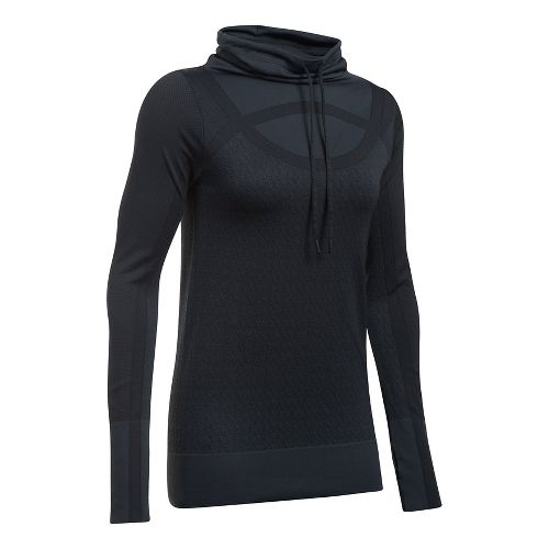 Womens Under Armour Threadborne Seamless Funnel Neck Long Sleeve Technical Tops - Black XL