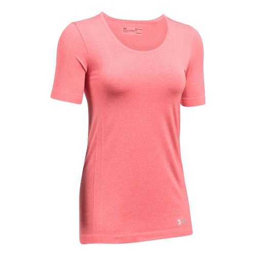 Womens Under Armour Threadborne Seamless Heather Short Sleeve Technical Tops - Marathon Red XS