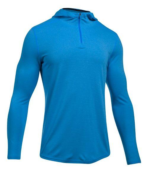 Mens Under Armour Threadborne Knit Half-Zips & Hoodies Technical Tops - Mako Blue L