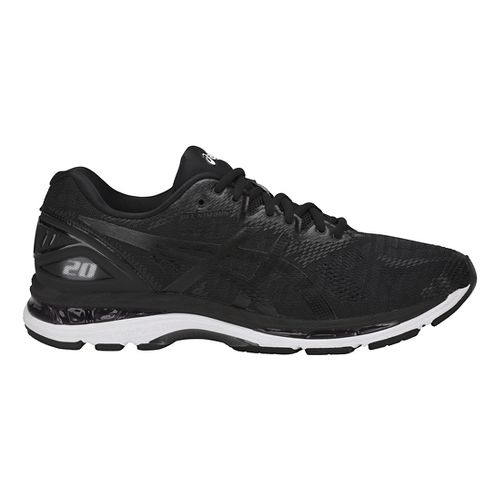 Mens ASICS GEL-Nimbus 20 Running Shoe - Black/White 14