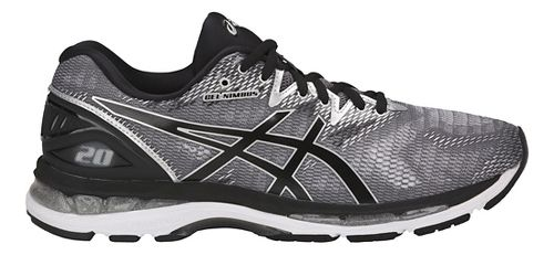 Mens ASICS GEL-Nimbus 20 Running Shoe - Silver/Black 7.5