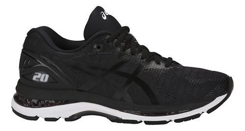 Womens ASICS GEL-Nimbus 20 Running Shoe - Black/White 12
