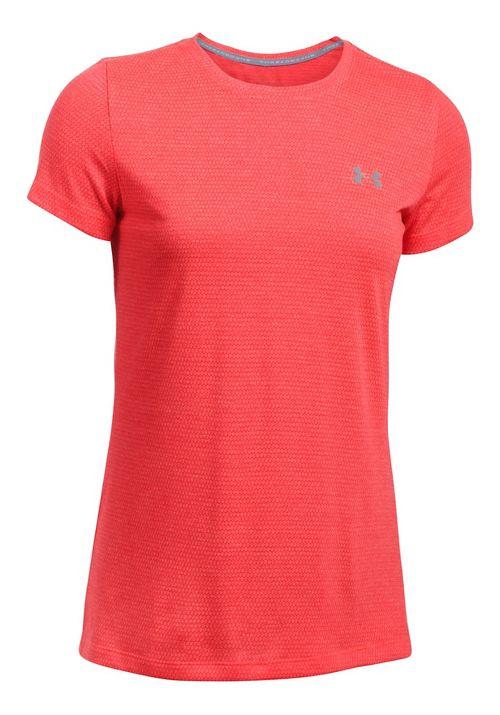 Womens Under Armour Threadborne Train SSC-Hex Short Sleeve Technical Tops - Marathon Red XL