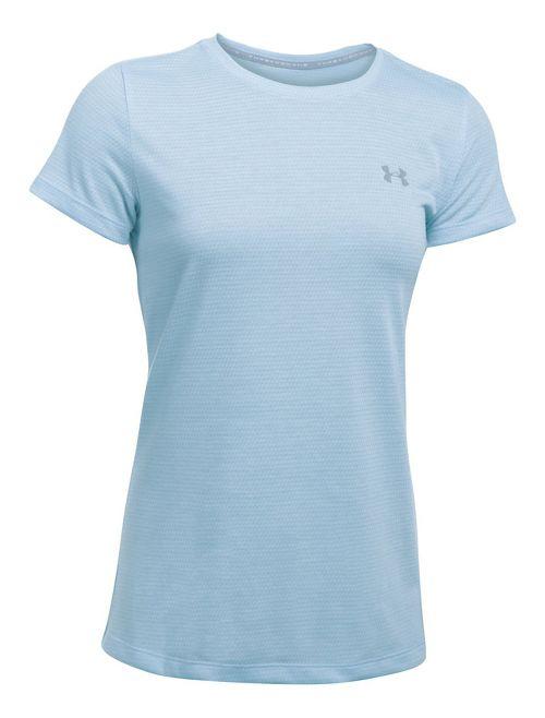 Womens Under Armour Threadborne Train SSC-Hex Short Sleeve Technical Tops - Chalk Blue XS