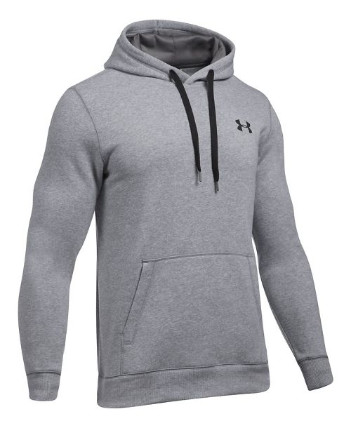 Mens Under Armour Rival Fitted Pullover Half-Zips & Hoodies Technical Tops - True Grey Heather 4XL