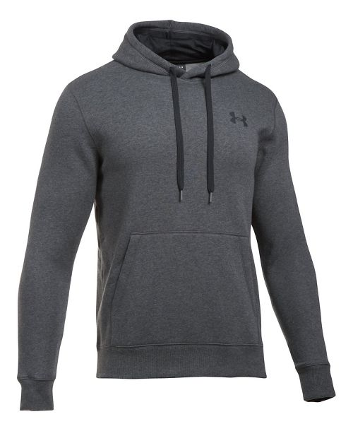 Mens Under Armour Rival Fitted Pullover Half-Zips & Hoodies Technical Tops - Carbon Heather L