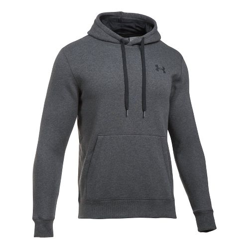 Mens Under Armour Rival Fitted Pullover Half-Zips & Hoodies Technical Tops - Carbon Heather 3XL