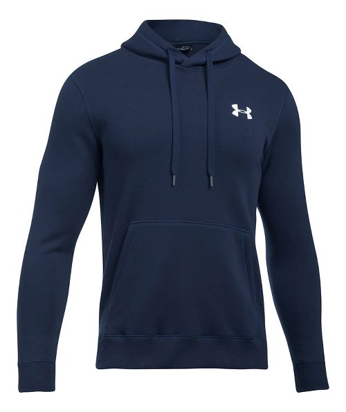 Mens Under Armour Rival Fitted Pullover Half-Zips & Hoodies Technical Tops - Midnight Navy S
