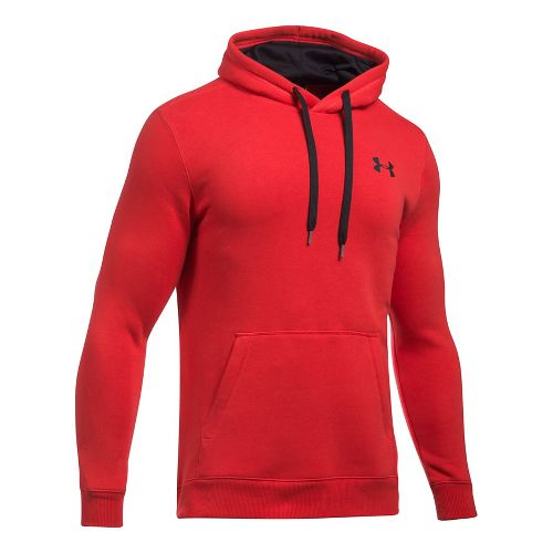 Mens Under Armour Rival Fitted Pullover Half-Zips & Hoodies Technical Tops - Red S