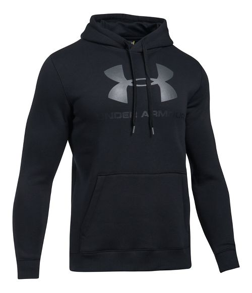 Mens Under Armour Rival Fitted Graphic Half-Zips & Hoodies Technical Tops - Black/Stealth Grey XL