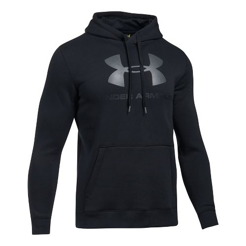 Mens Under Armour Rival Fitted Graphic Half-Zips & Hoodies Technical Tops - Black/Stealth Grey L