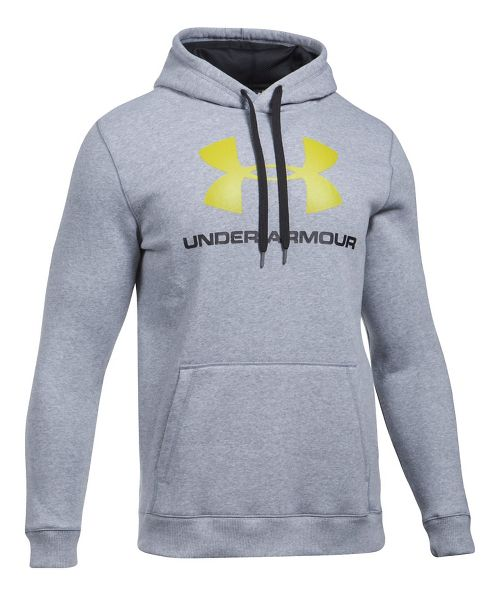 Mens Under Armour Rival Fitted Graphic Half-Zips & Hoodies Technical Tops - Grey Heather/Yellow XL