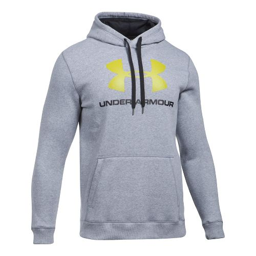 Mens Under Armour Rival Fitted Graphic Half-Zips & Hoodies Technical Tops - Black/Stealth Grey S