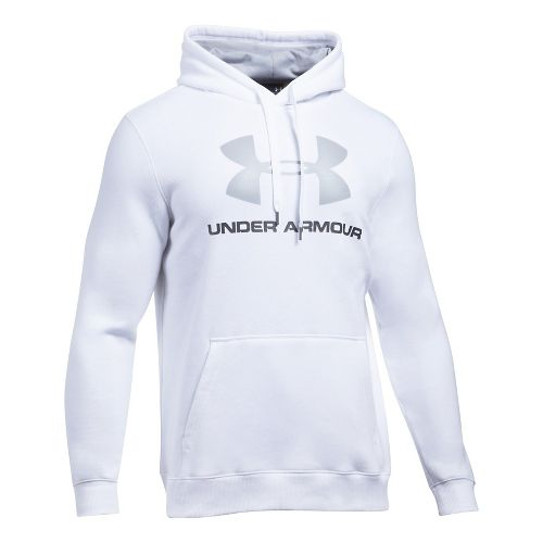 Mens Under Armour Rival Fitted Graphic Half-Zips & Hoodies Technical Tops - White/Grey 3XL