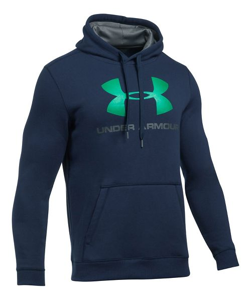 Mens Under Armour Rival Fitted Graphic Half-Zips & Hoodies Technical Tops - Navy/Glass Green XXL