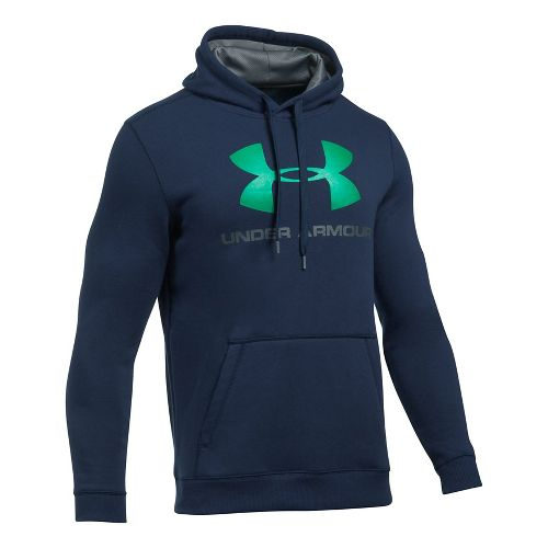 Mens Under Armour Rival Fitted Graphic Half-Zips & Hoodies Technical Tops - Navy/Glass Green ...