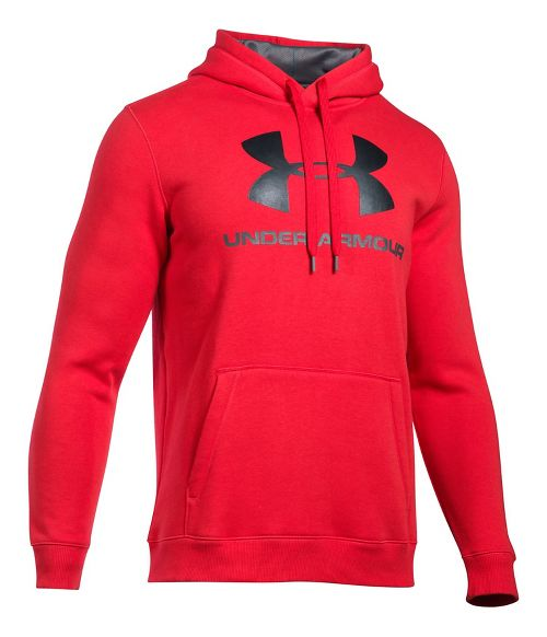 Mens Under Armour Rival Fitted Graphic Half-Zips & Hoodies Technical Tops - Red/Black XXL