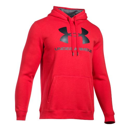 Mens Under Armour Rival Fitted Graphic Half-Zips & Hoodies Technical Tops - Red/Black XL