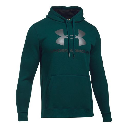 Mens Under Armour Rival Fitted Graphic Half-Zips & Hoodies Technical Tops - Arden Green/Grey M