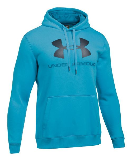 Mens Under Armour Rival Fitted Graphic Half-Zips & Hoodies Technical Tops - Blue Shift/Grey 4XL