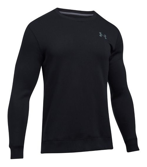 Mens Under Armour Rival Solid Fitted Crew Long Sleeve Technical Tops - Black XXL