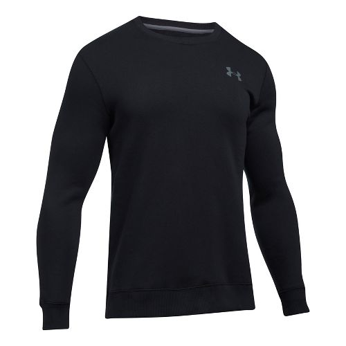 Mens Under Armour Rival Solid Fitted Crew Long Sleeve Technical Tops - Black XL