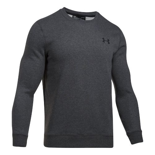 Mens Under Armour Rival Solid Fitted Crew Long Sleeve Technical Tops - Carbon Heather M