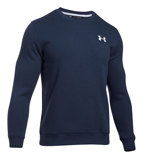Mens Under Armour Rival Solid Fitted Crew Long Sleeve Technical Tops - Midnight Navy S