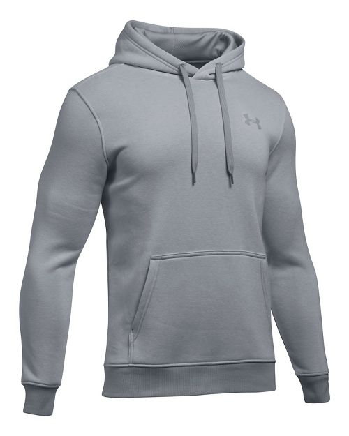 Mens Under Armour Rival EOE Fitted Pullover Half-Zips & Hoodies Technical Tops - Overcast Grey L